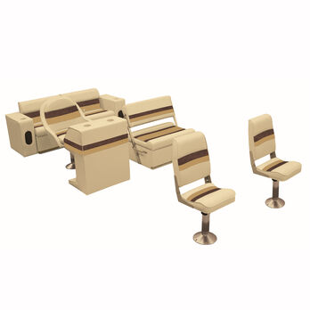 Deluxe Pontoon Furniture w/Toe Kick Base - Fishing Package, Sand/Chestnut/Gold