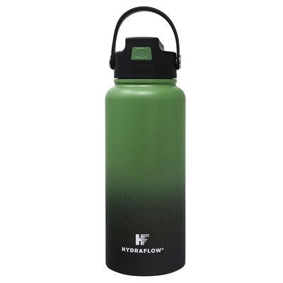Hydraflow Hybrid 34-oz. Bottle w/Flip Straw, Ombre Hunter Green/Black