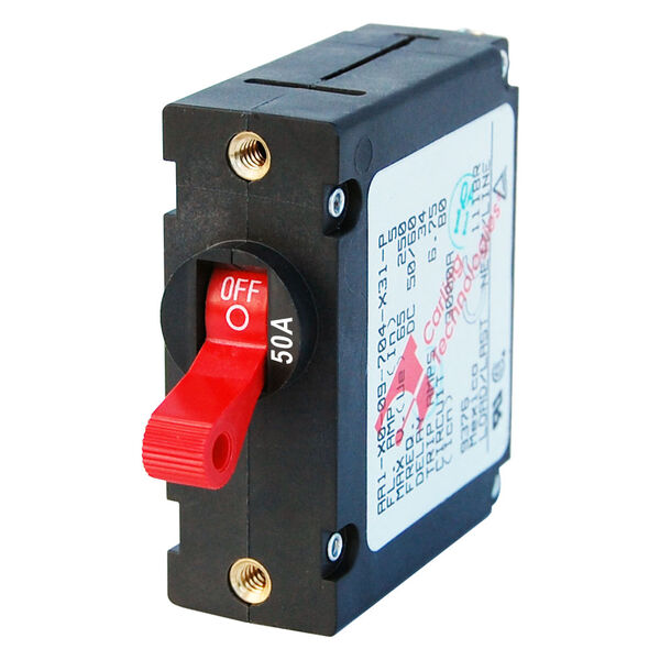 Blue Sea Systems A-Series Toggle Switch Circuit Breaker, Single Pole 50 Amp