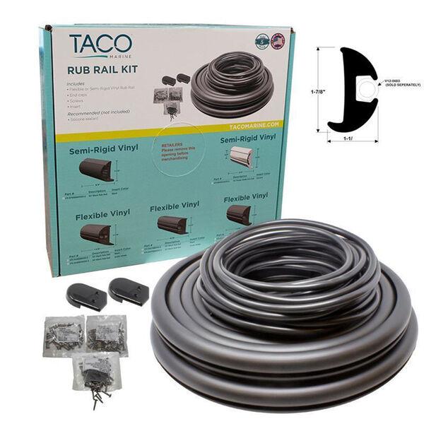 "TACO Marine Flexible Rub Rail Kit, 1-7/8"" X 1-1/8"", Black with Black Insert, 70 Feet"