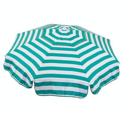 Italian 6 ft Patio Umbrella Acrylic Stripes Jade Green and White