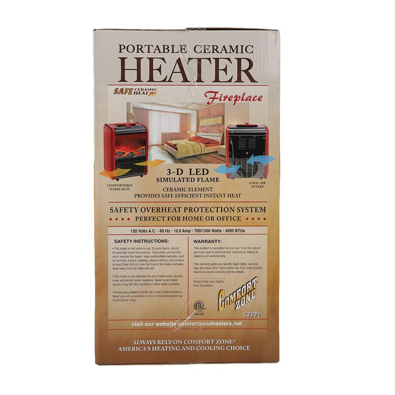 Comfort Zone Portable Fireplace Heater image number 6