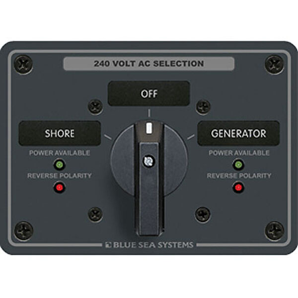 Blue Sea AC Rotary Panel: 120/240V, 65A, 2 Sources, 3 Poles, 2 Positions+OFF