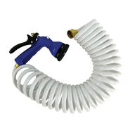 Whitecap Coiled Water Hose with Nozzle