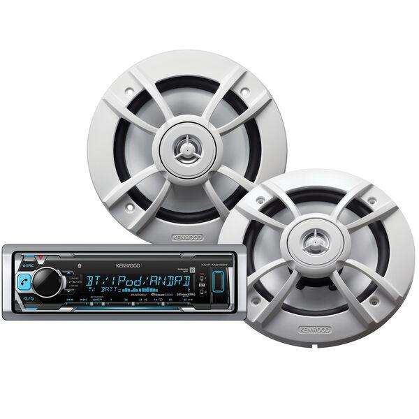 """Kenwood KMR-M318BT Marine Media Bluetooth Receiver Package w/Two 6.5"""" Speakers"""