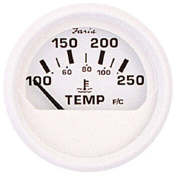 "Faria 2"" Dress White Series Water Temperature Gauge, 100-250°F"