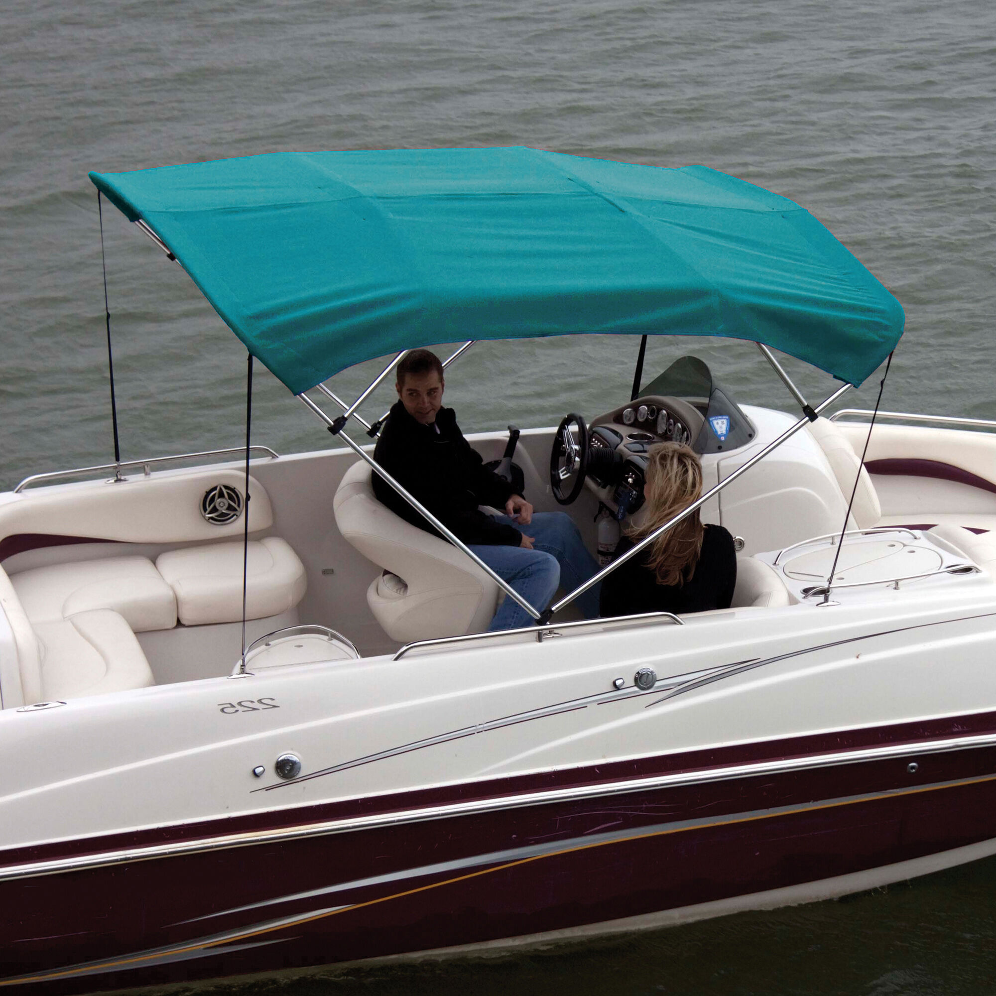 "Bimini Top Boat Cover Canvas Fabric Black w//Boot Fits 4 BOW 96/""L 54/""H 54/""-60/""W"