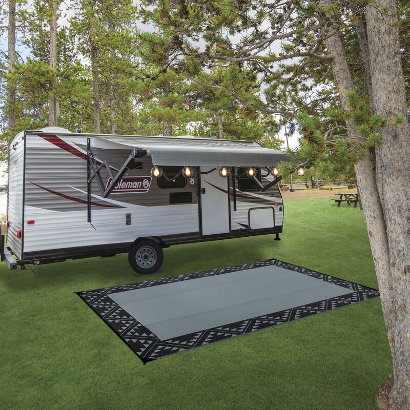 Reversible RV Patio Mat with Aztec Border Design image number 3