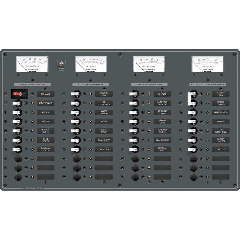 Blue Sea AC Main/DC Main Toggle Circuit Breaker Panel, Model 8095 image number 1