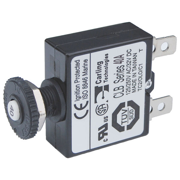 Blue Sea Push-Button Reset-Only Quick-Connect Thermal DC Circuit Breaker, 40A