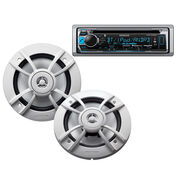 """Kenwood KMR-D365BT Marine CD Bluetooth Receiver Package w/Two 6.5"""" Speakers"""