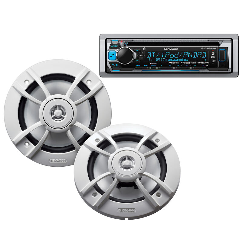 "Kenwood KMR-D365BT Marine CD Bluetooth Receiver Package w/Two 6.5"" Speakers image number 1"