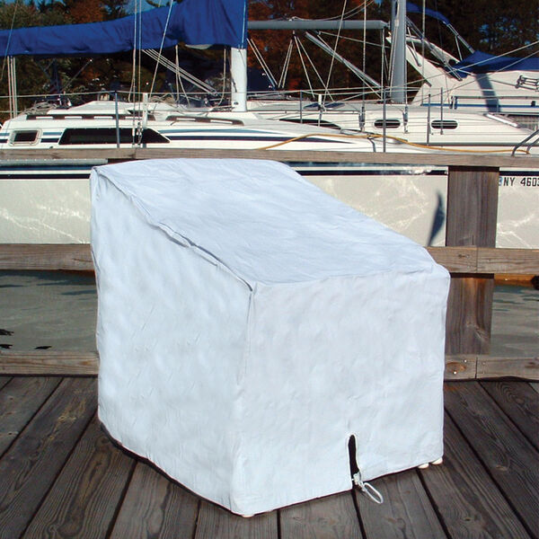 """Vinyl Single Deck Chair Cover White 29""""H x 26""""W x 29.5""""D"""