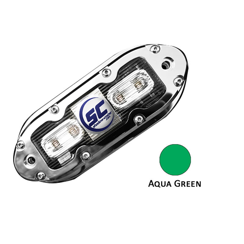 Shadow-Caster SCM-4 LED Underwater Light w/20' Cable - 316 SS Housing - Aqua Green image number 1