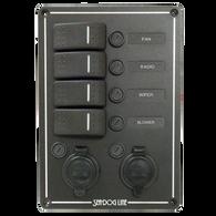 Sea-Dog 4 Rocker Switch Panel With Dual Power Sockets