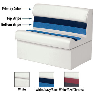 "Toonmate Deluxe Pontoon 36"" Wide Lounge Seat w/Classic Base (no toe kick), White"