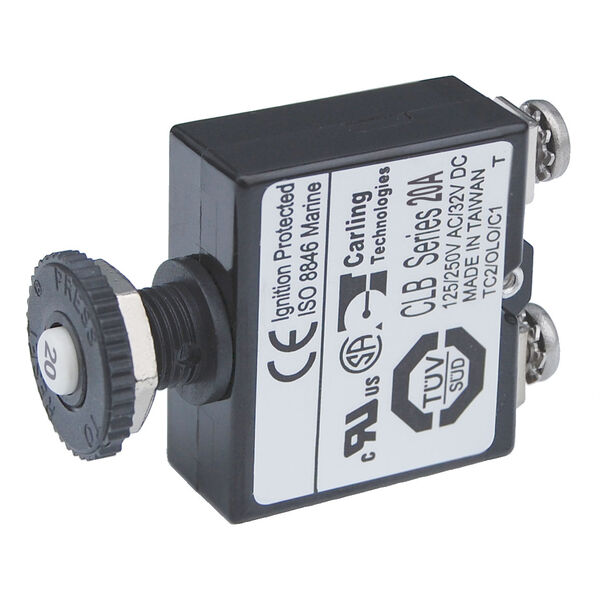 Blue Sea Systems Push-Button Reset-Only Screw Terminal Circuit Breaker, 20 Amps