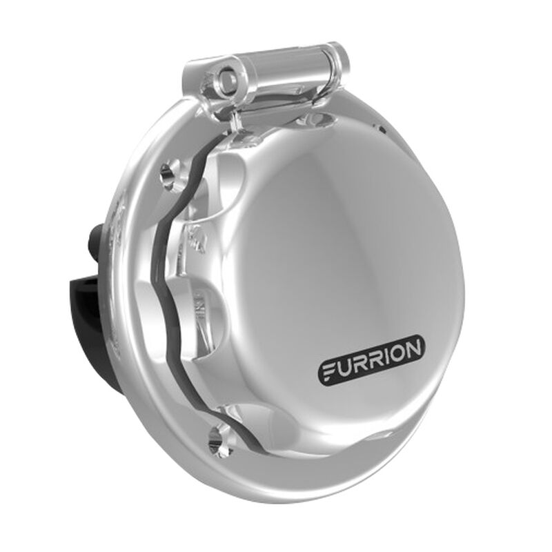 Furrion 30 Amp Round Power Inlet, 125V, Stainless Steel image number 1