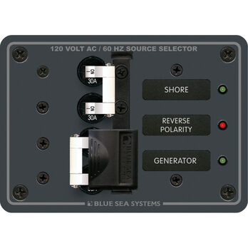Blue Sea Systems Traditional Metal Panel, 120V AC 30A Toggle Source Selector
