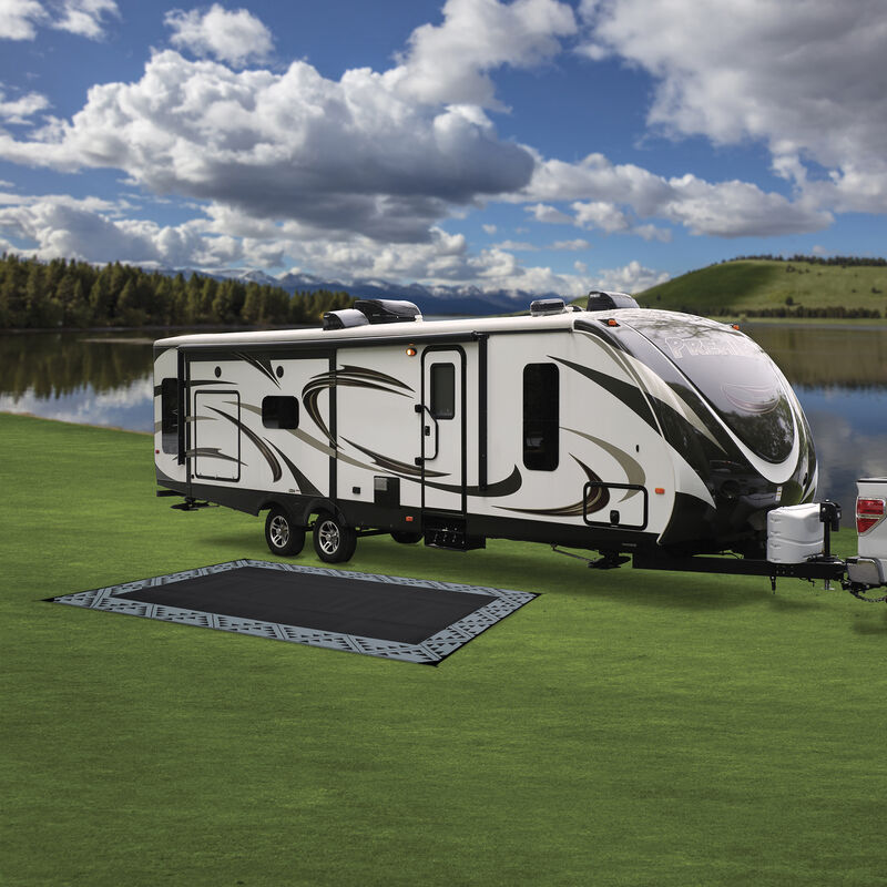 Reversible RV Patio Mat with Aztec Border Design image number 8