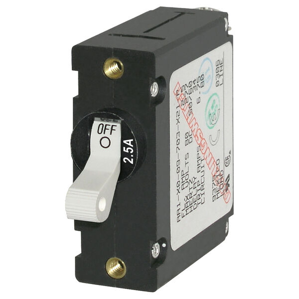 Blue Sea Systems A-Series Toggle Switch Circuit Breaker, Single Pole 2.5 Amp