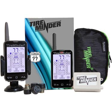 TireMinder TM-77 Tire Pressure Monitoring System with 4 Transmitters for RVs, Motorhomes, 5th Wheels, Motor Coaches, and Trailers