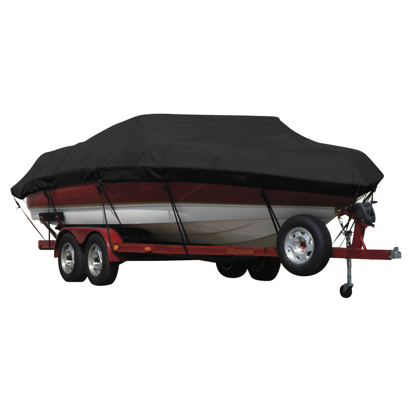 Exact Fit Covermate Sunbrella Boat Cover for Tracker Party Barge 21 Signature Party Barge 21 Signature W/Bimini Laid Aft O/B image number 2