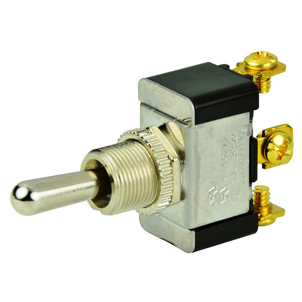 BEP SPDT Chrome Plated Toggle Switch, (On)/Off/(On)