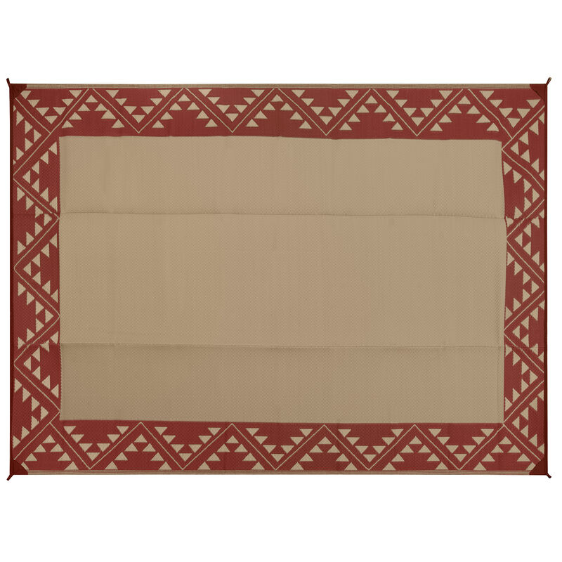Reversible RV Patio Mat with Aztec Border Design image number 9