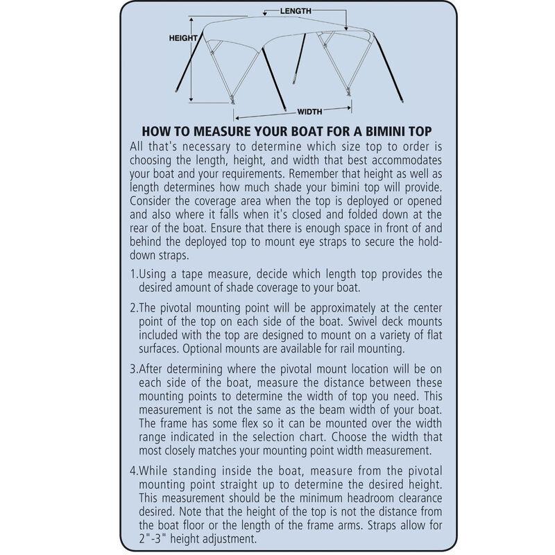 "Shademate Sunbrella 4-Bow Bimini Top, 8'L x 54""H, 79""-84"" Wide image number 3"