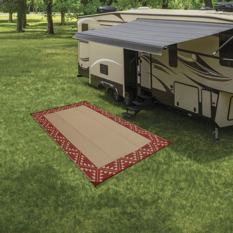 Reversible RV Patio Mat with Aztec Border Design image number 11