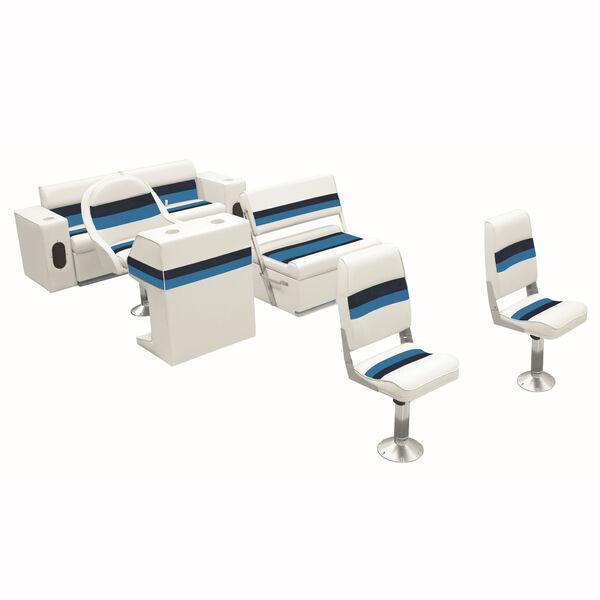 Deluxe Pontoon Furniture w/Toe Kick Base - Fishing Package, White/Navy/Blue