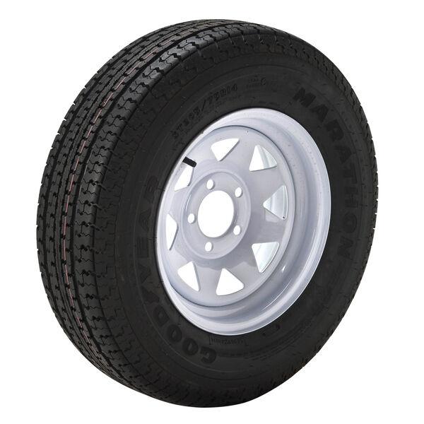Goodyear Marathon 205/75 R 15 Radial Trailer Tire, 5-Lug White Spoke Rim