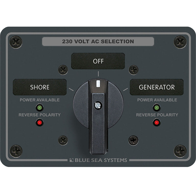 Blue Sea AC Rotary Switch Panel: 230V, 65A, 2 Sources, 2 Poles, 2 Positions+OFF image number 1