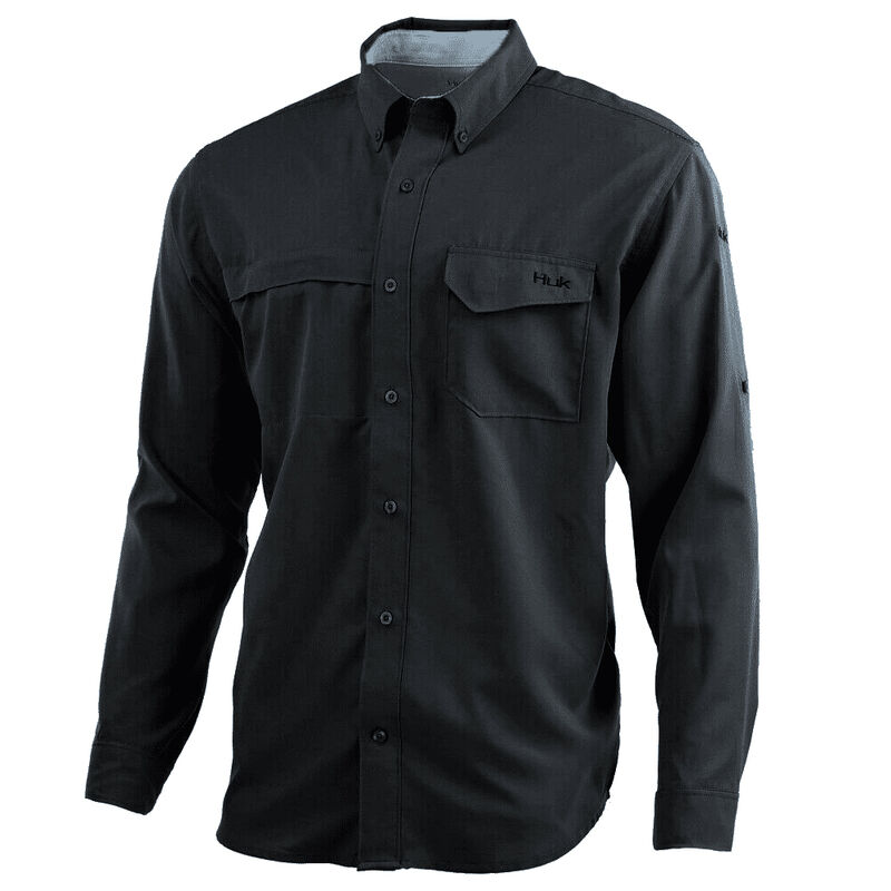 HUK Men's Tide Point Woven Solid Long-Sleeve Shirt image number 1