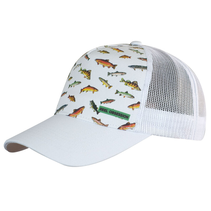 Reel Obsession Men's Downstream Fish Print Trucker Hat image number 2