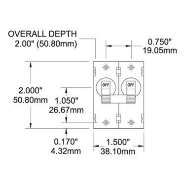Blue Sea AC Circuit Breaker A-Series Toggle Switch, Double Pole, 40A, Black