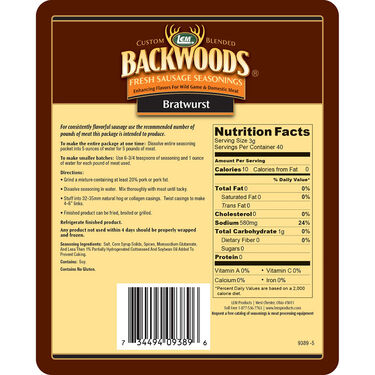 Backwoods Bratwurst Fresh Sausage Seasoning, 5 lbs.