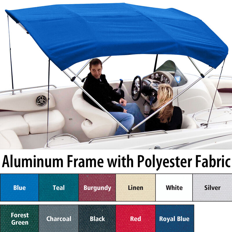 """Shademate Polyester 4-Bow Bimini Top, 8'L x 54""""H, 79""""-84"""" Wide image number 1"""