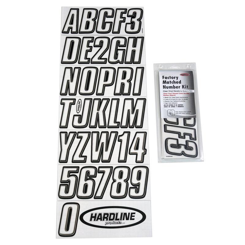 Hardline 800 Series Clear/Black Registration Kit, Beveled 3D Font image number 1