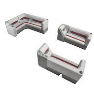 Designer Pontoon Furniture - Complete Lounger Package, Sky Gray/Dark Red