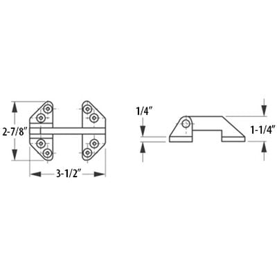Stainless Steel Long-Reach Hatch Hinge