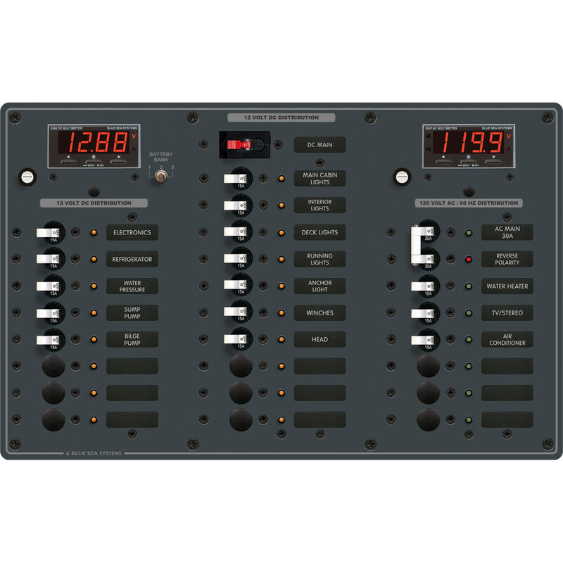 Blue Sea AC Main/DC Main Toggle Circuit Breaker Panel, Model 8408 image number 1