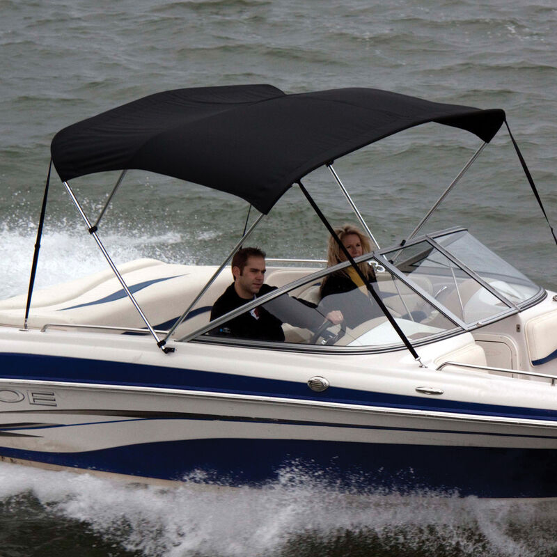 """Black Bimini Top Sunbrella Fabric and Boot Only, 3-Bow 6'L, 46""""/54""""H, 67""""-72""""W image number 1"""