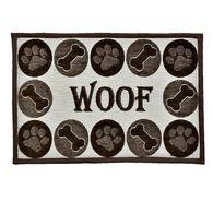 "Woof Chenille Design Pet Food & Water Bowl Mat, 12.75"" x 19"", Brown/Beige"
