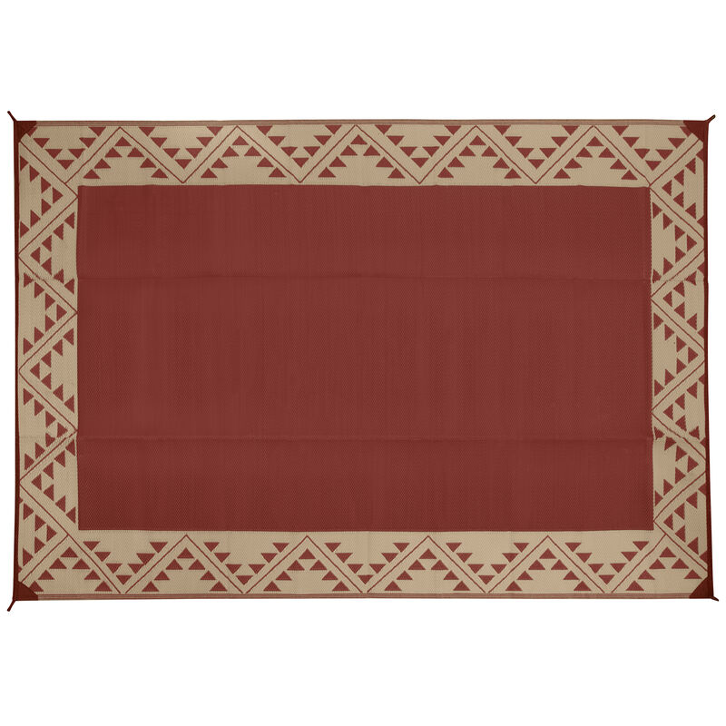 Reversible RV Patio Mat with Aztec Border Design image number 24