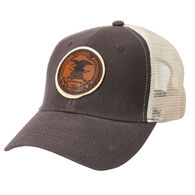 NRA Men's Canvas Trucker Cap with Leather Logo Badge
