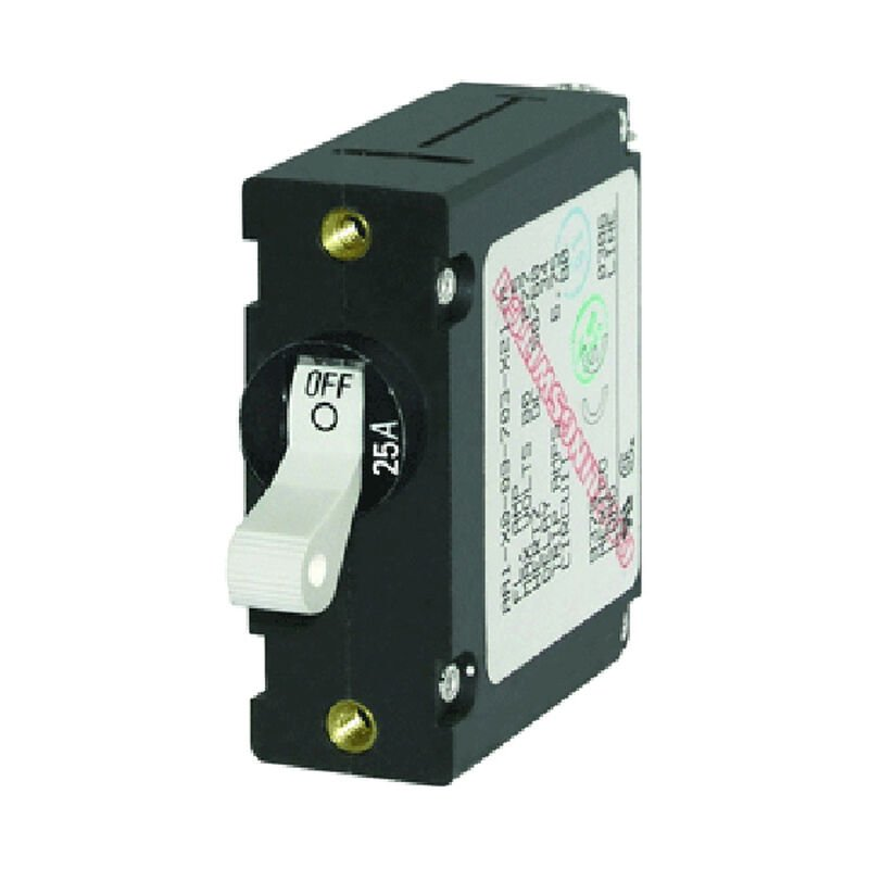 Blue Sea Circuit Breaker A-Series Toggle Switch, Single Pole, 25A, White image number 1