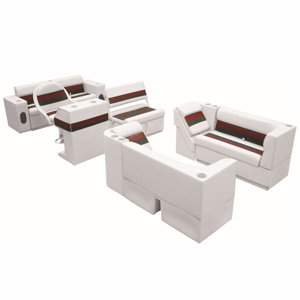 Deluxe Pontoon Seats w/Toe Kick Base, Complete Package E Plus Stand, White/Red/C