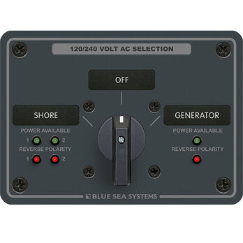 Blue Sea AC Rotary Panel: 120V, 30A, 3 Sources, 4 Poles, 2 Positions+OFF